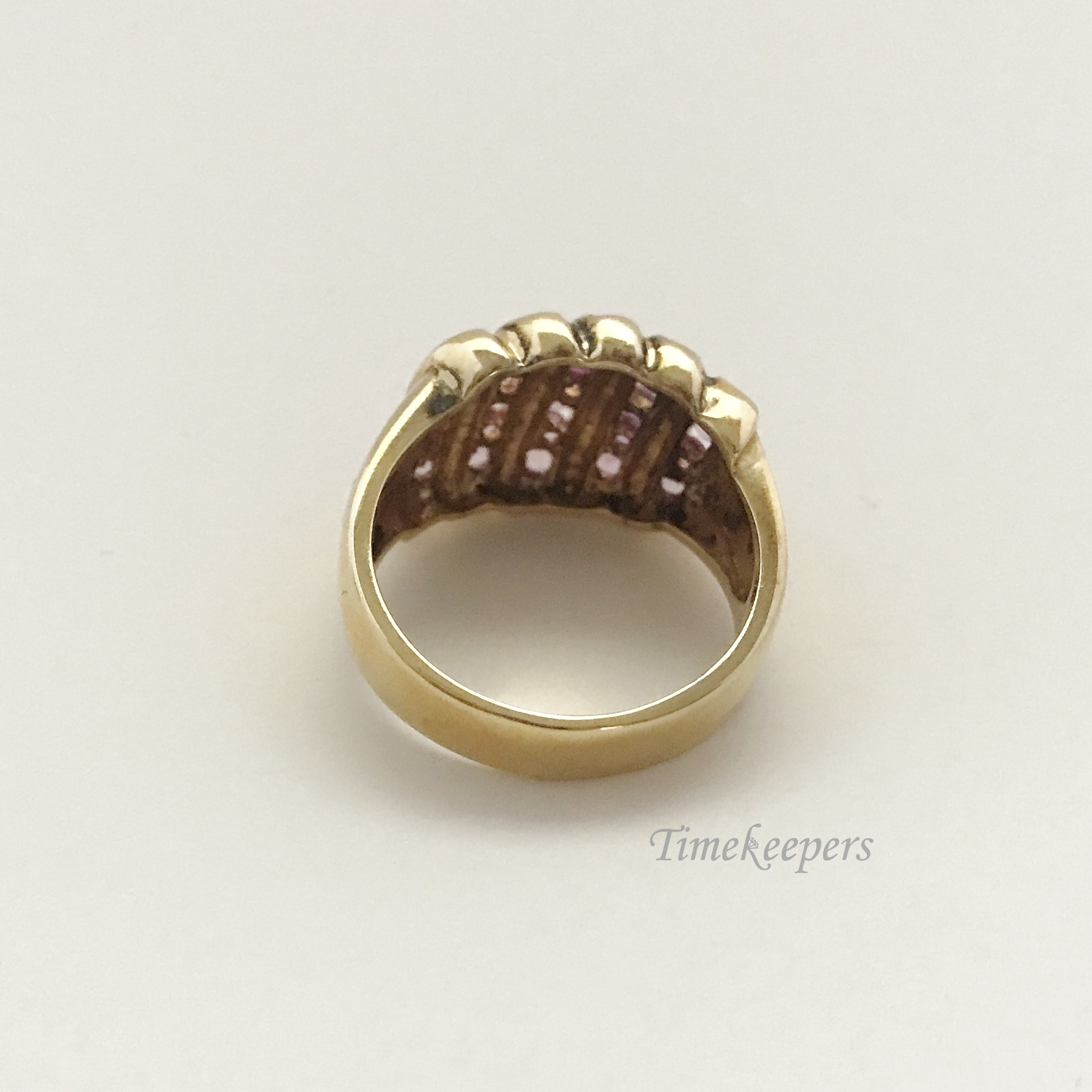 E365 Vintage Sterling Silver Gold Plated Pink Stone Ring